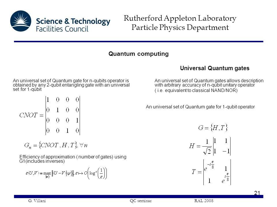 Quantum computing Universal Quantum gates