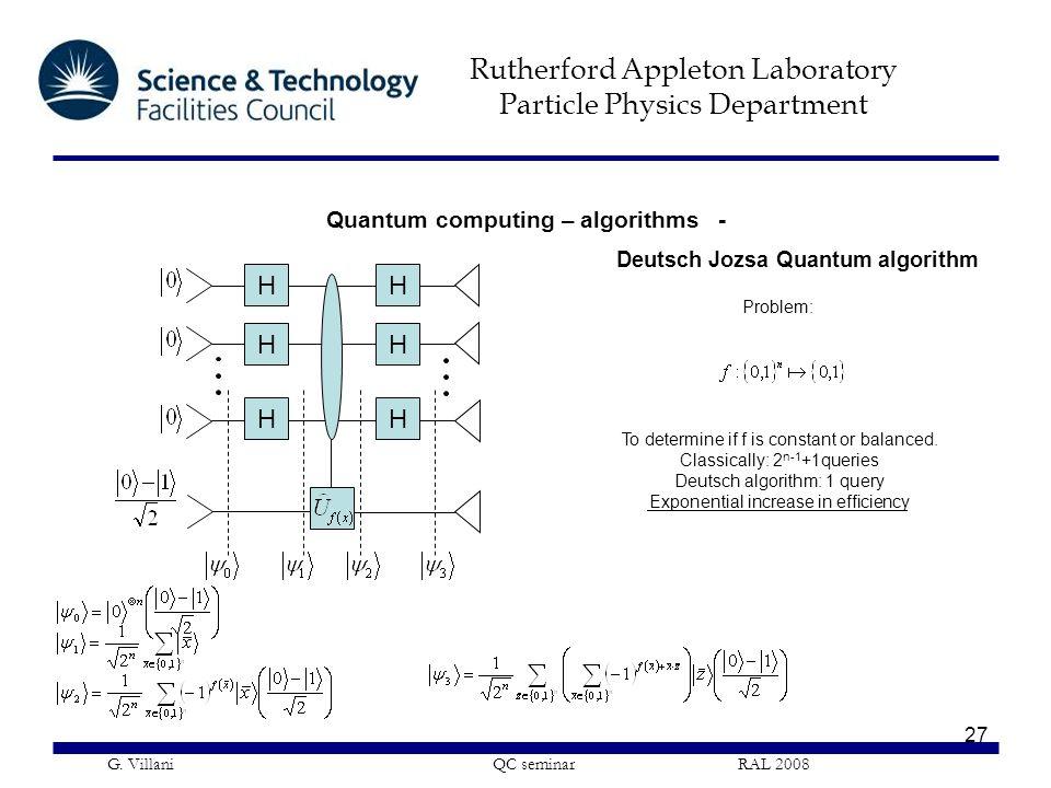 Quantum computing – algorithms -