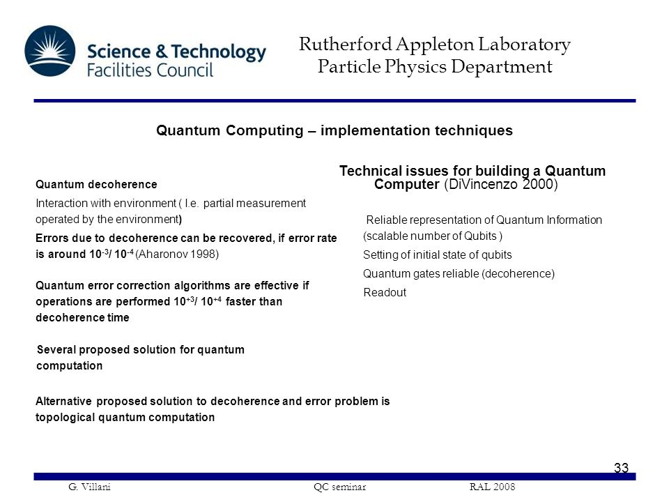 Quantum Computing – implementation techniques