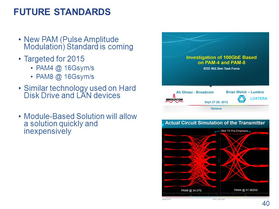 Future standards New PAM (Pulse Amplitude Modulation) Standard is coming. Targeted for 2015. PAM4 @ 16Gsym/s.