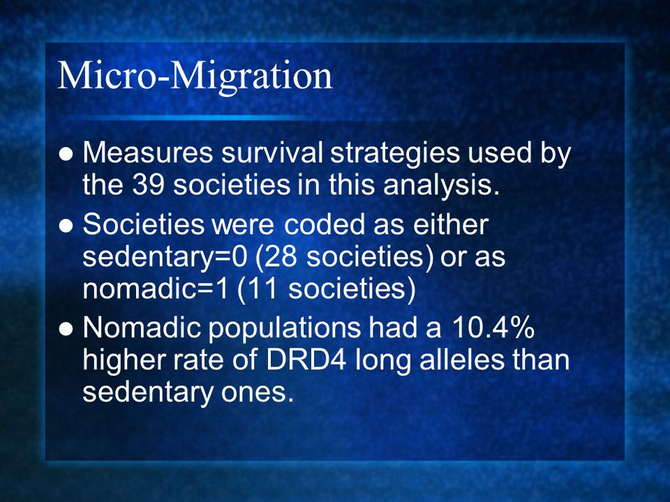 Micro-Migration Measures survival strategies used by the 39 societies in this analysis.