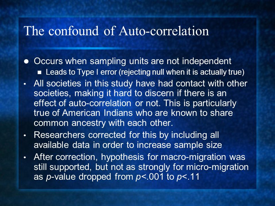 The confound of Auto-correlation