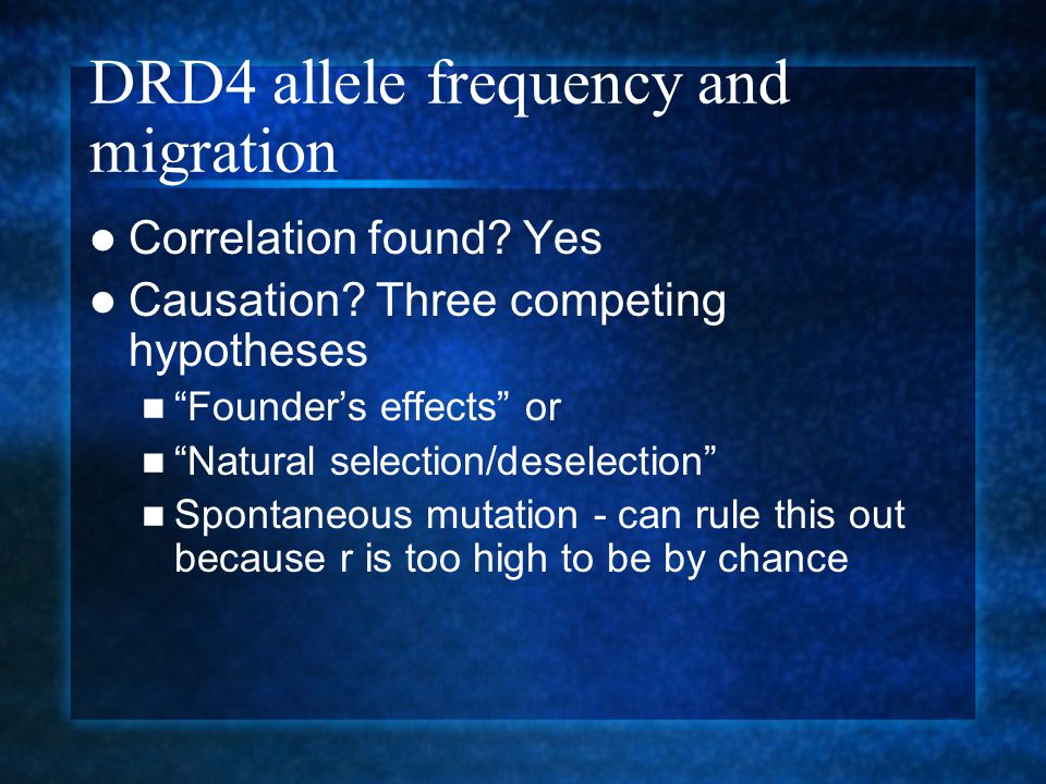 DRD4 allele frequency and migration