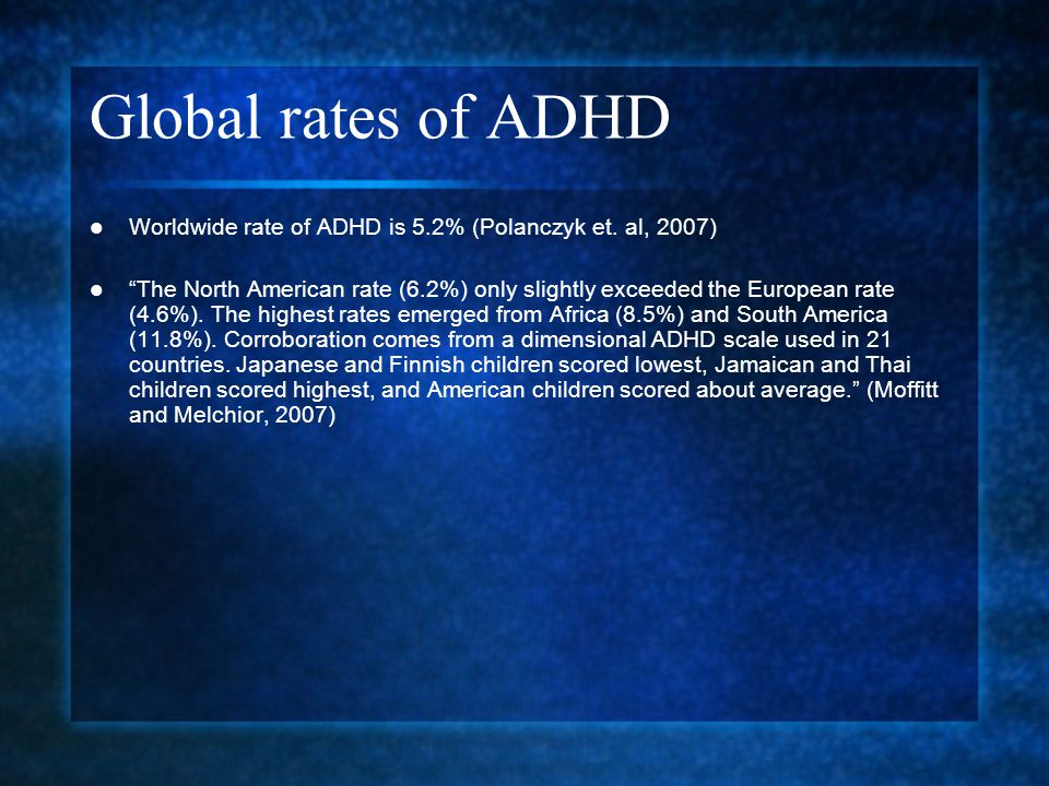 Global rates of ADHD Worldwide rate of ADHD is 5.2% (Polanczyk et. al, 2007)