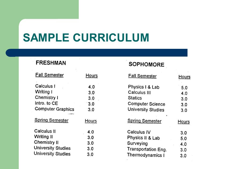 SAMPLE CURRICULUM