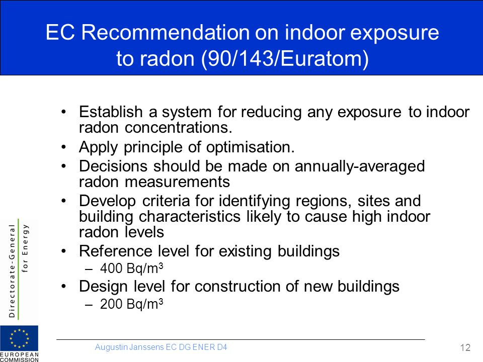 EC Recommendation on indoor exposure to radon (90/143/Euratom)