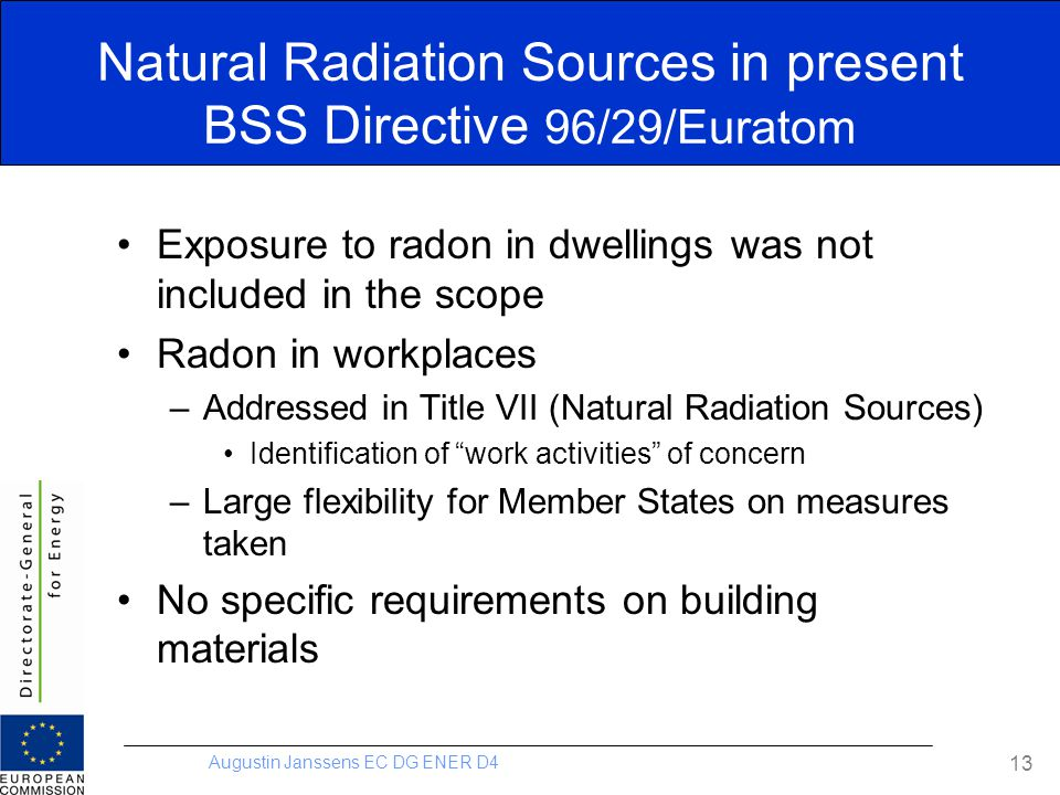 Natural Radiation Sources in present BSS Directive 96/29/Euratom