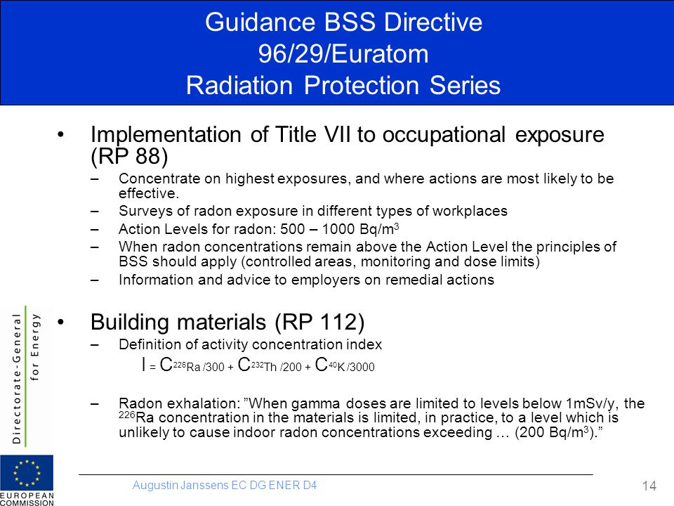 Guidance BSS Directive 96/29/Euratom Radiation Protection Series