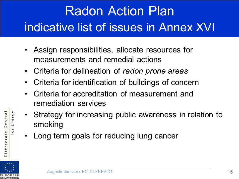 Radon Action Plan indicative list of issues in Annex XVI