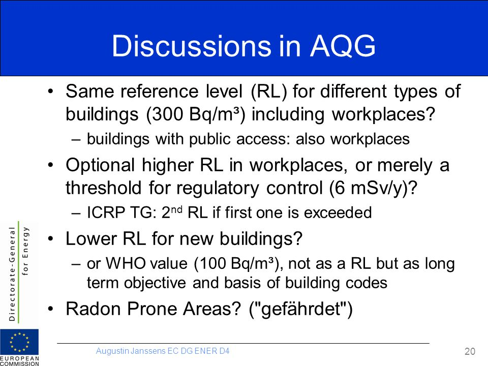 Discussions in AQG Same reference level (RL) for different types of buildings (300 Bq/m³) including workplaces