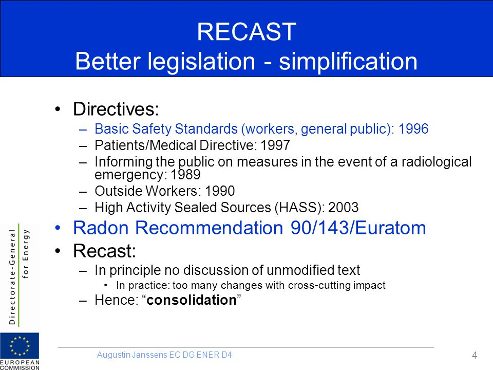 RECAST Better legislation - simplification