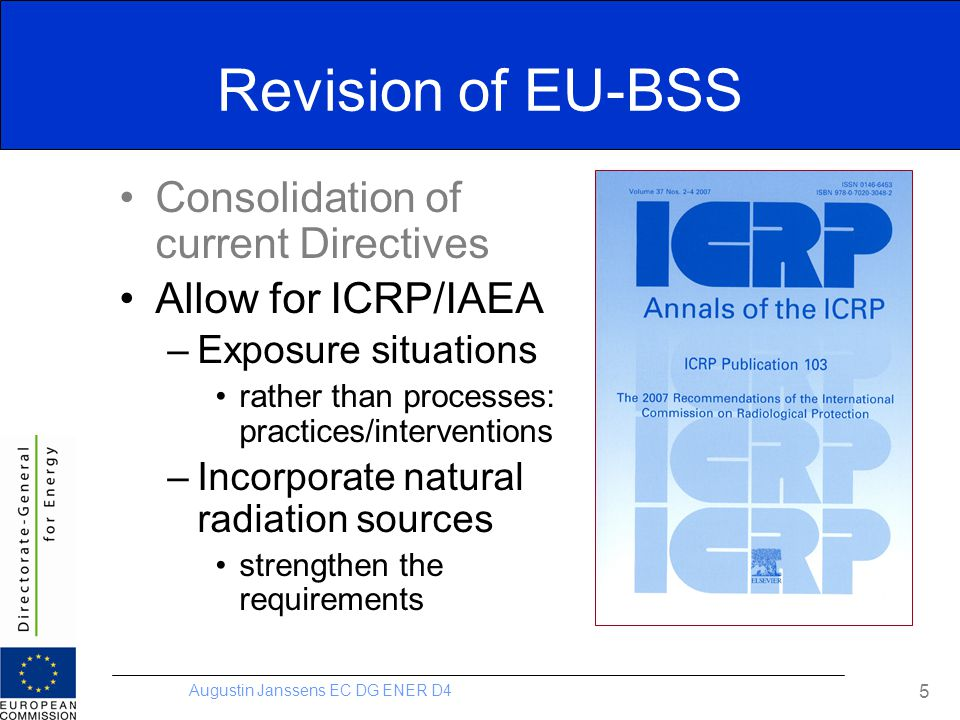 Revision of EU-BSS Consolidation of current Directives