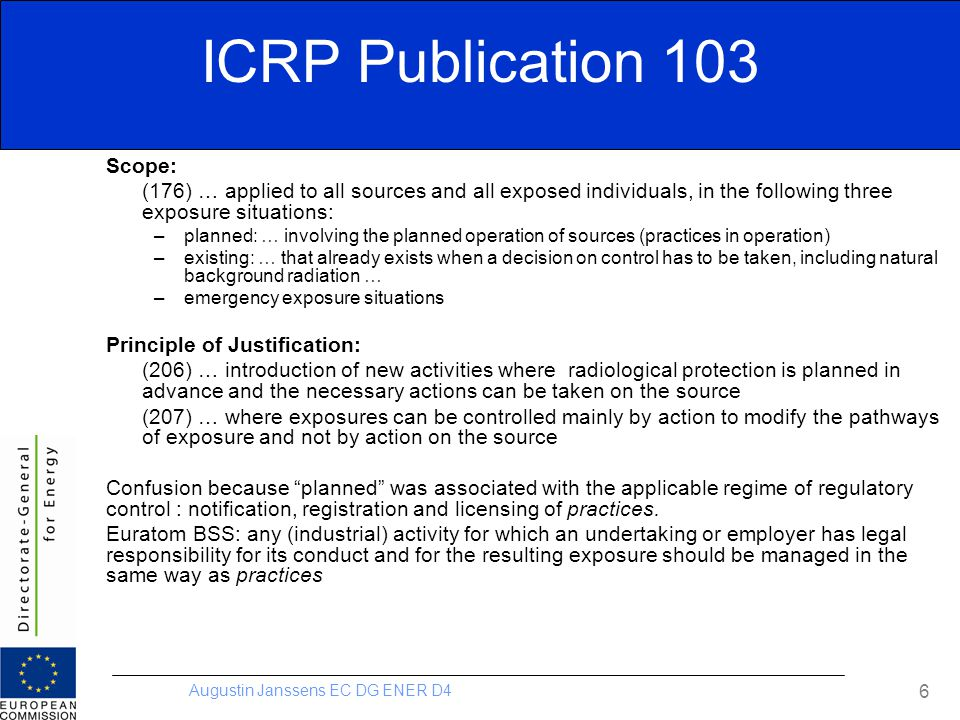 ICRP Publication 103 Scope: