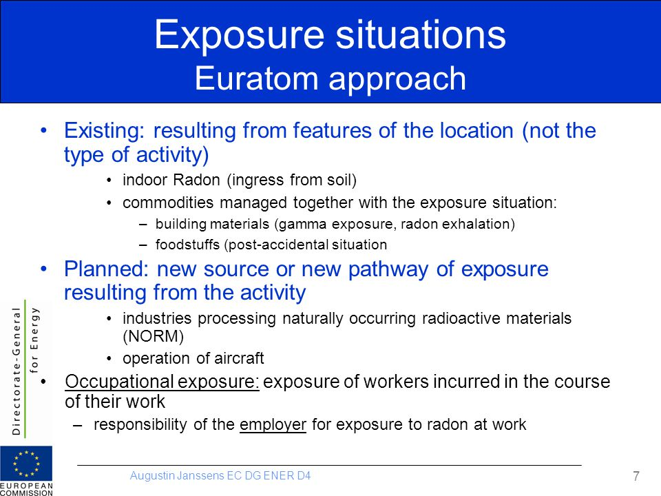 Exposure situations Euratom approach