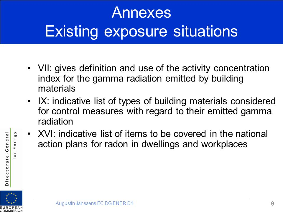 Annexes Existing exposure situations