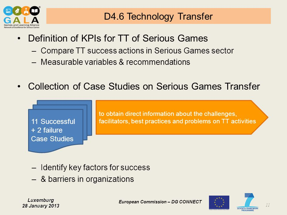 Definition of KPIs for TT of Serious Games