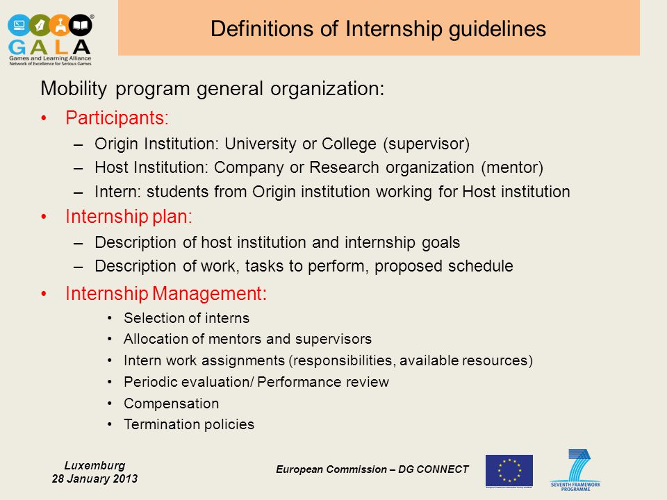 Definitions of Internship guidelines