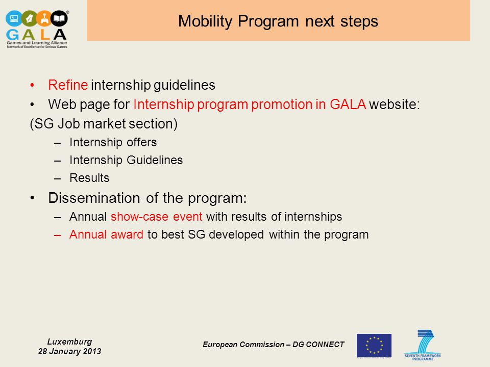 Mobility Program next steps