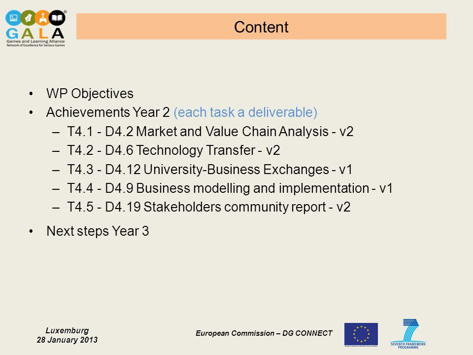 Content WP Objectives Achievements Year 2 (each task a deliverable)