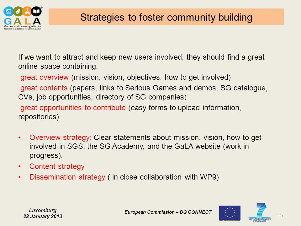 Strategies to foster community building
