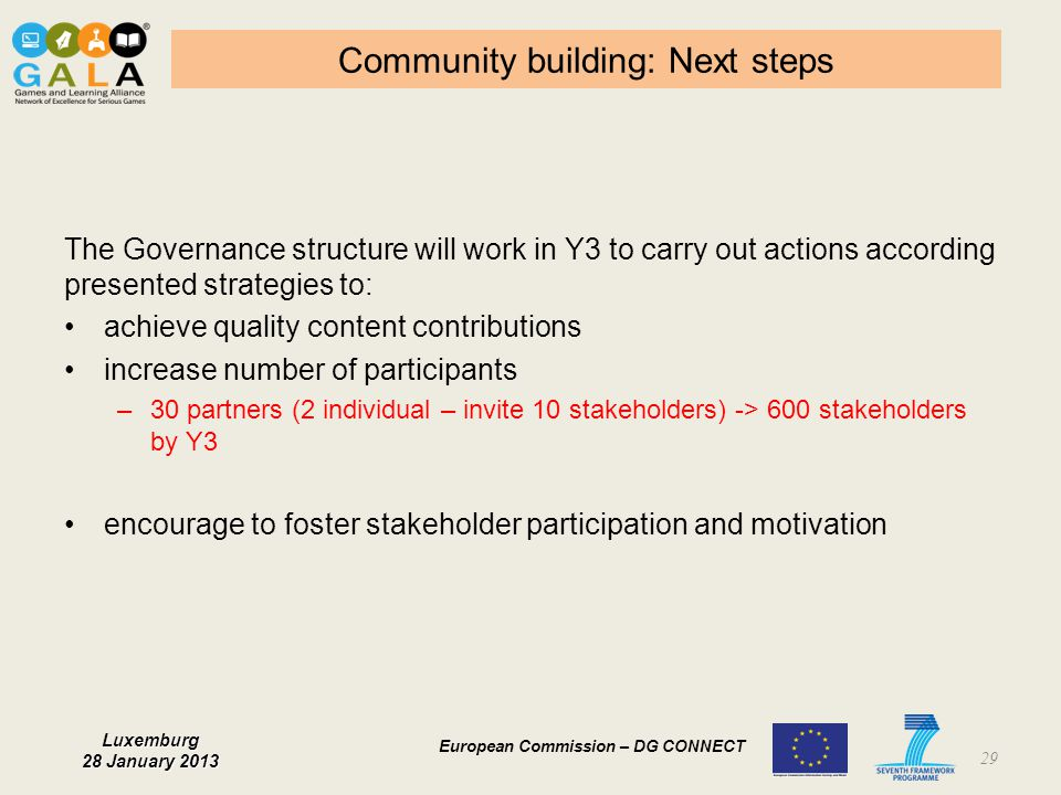 Community building: Next steps
