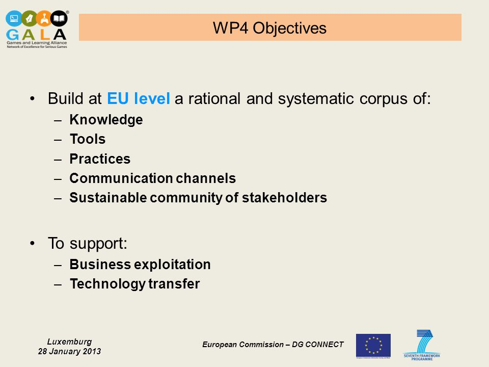 Build at EU level a rational and systematic corpus of: