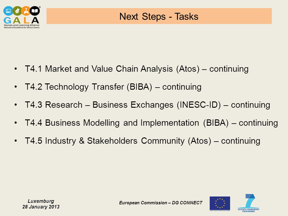 Next Steps - Tasks T4.1 Market and Value Chain Analysis (Atos) – continuing. T4.2 Technology Transfer (BIBA) – continuing.