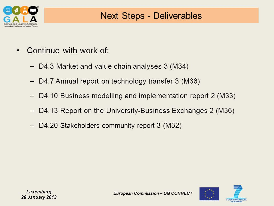 Next Steps - Deliverables