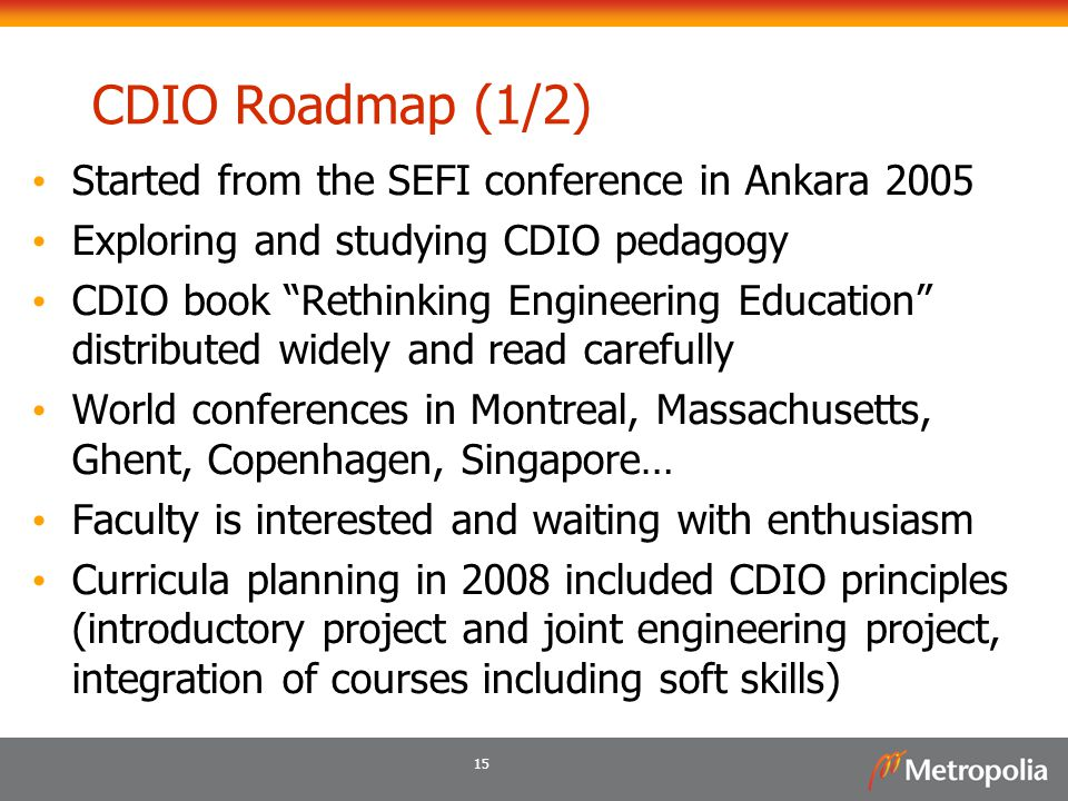 CDIO Roadmap (1/2) Started from the SEFI conference in Ankara 2005