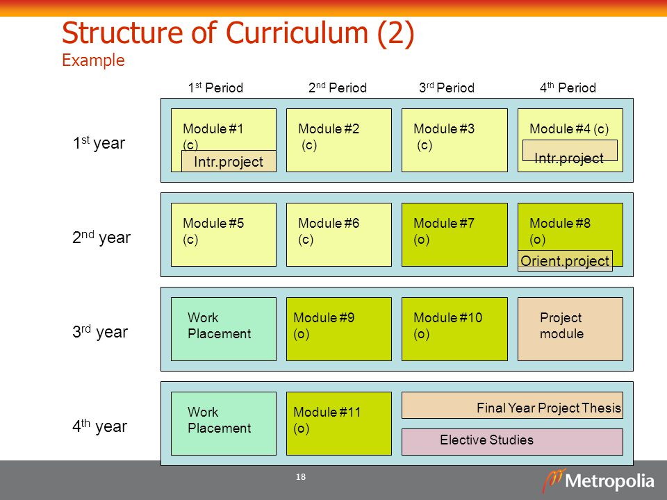 Structure of Curriculum (2) Example