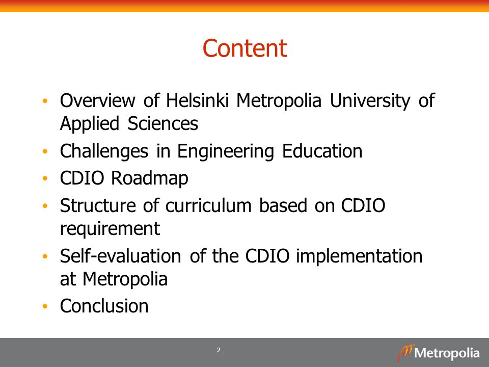 Content Overview of Helsinki Metropolia University of Applied Sciences