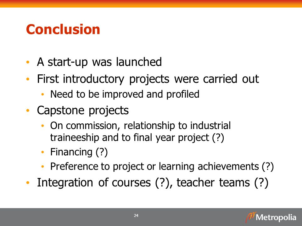 Conclusion A start-up was launched