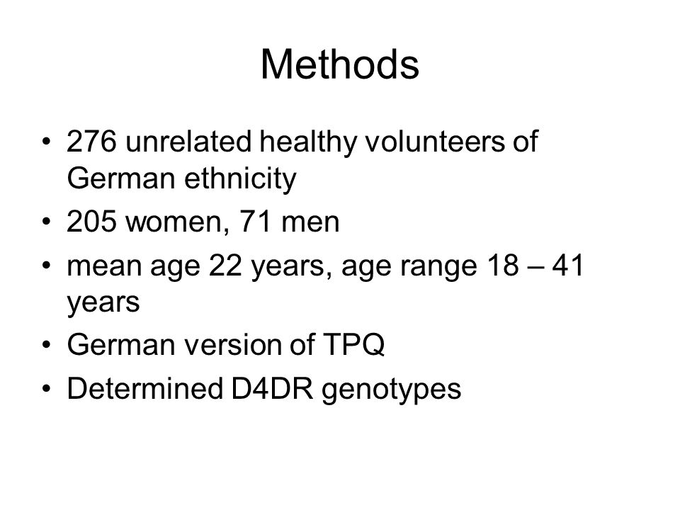 Methods 276 unrelated healthy volunteers of German ethnicity