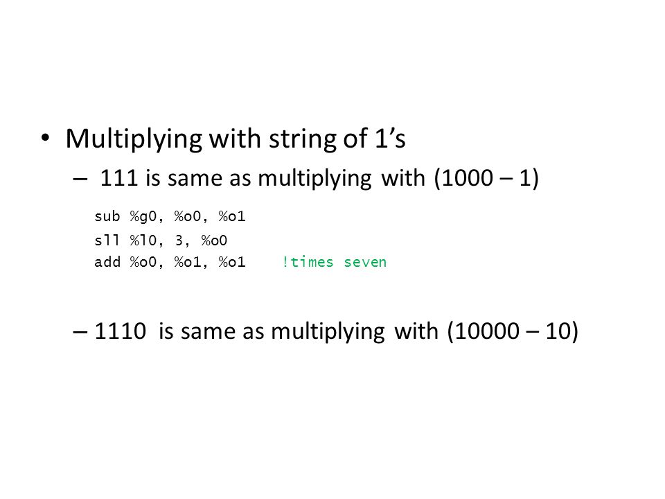 Multiplying with string of 1's