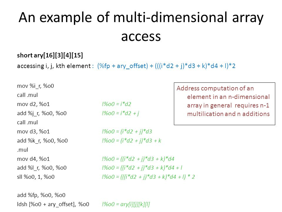 An example of multi-dimensional array access