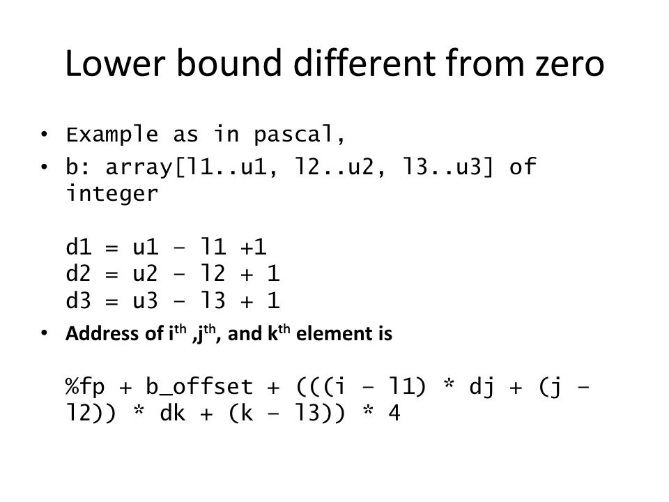 Lower bound different from zero