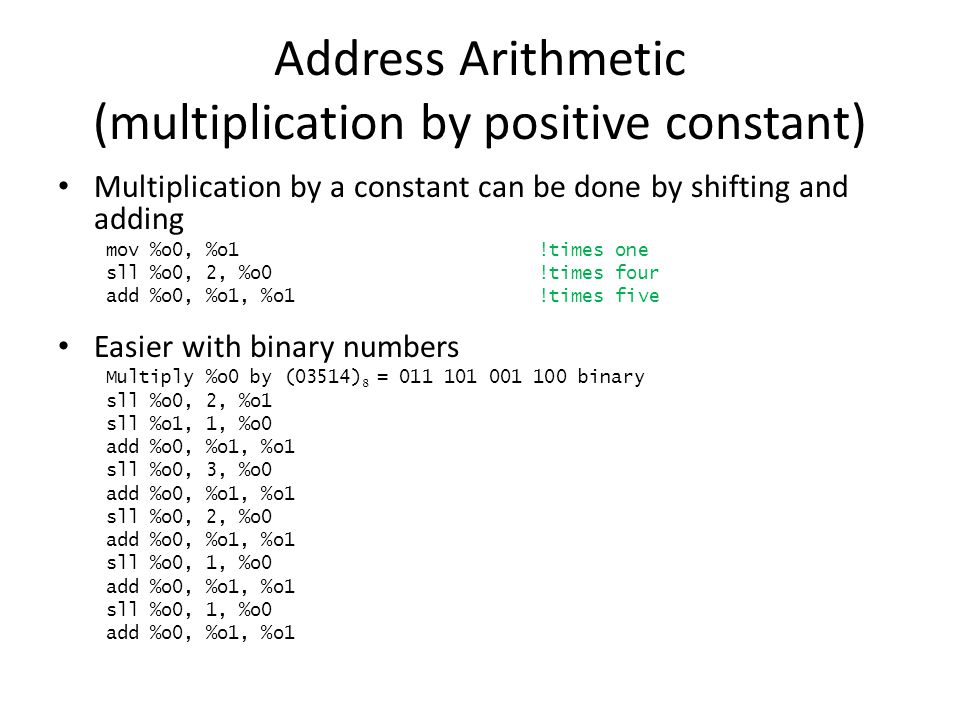 Address Arithmetic (multiplication by positive constant)
