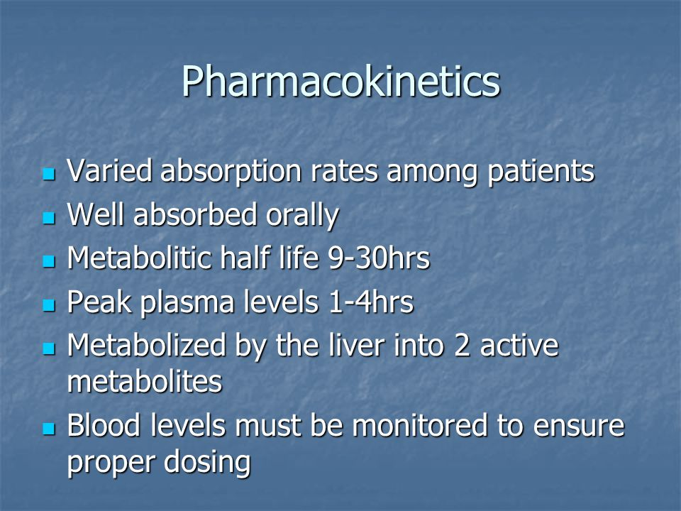 Pharmacokinetics Varied absorption rates among patients
