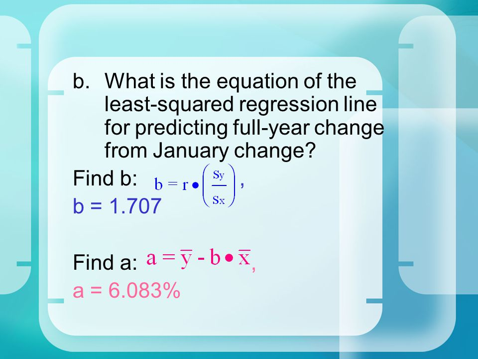 What is the equation of the least-squared regression line for predicting full-year change from January change
