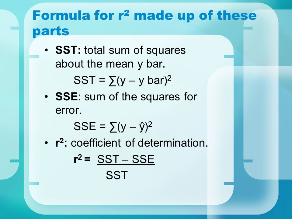 Formula for r2 made up of these parts