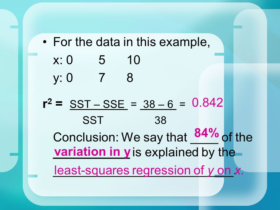 For the data in this example, x: 0 5 10 y: 0 7 8