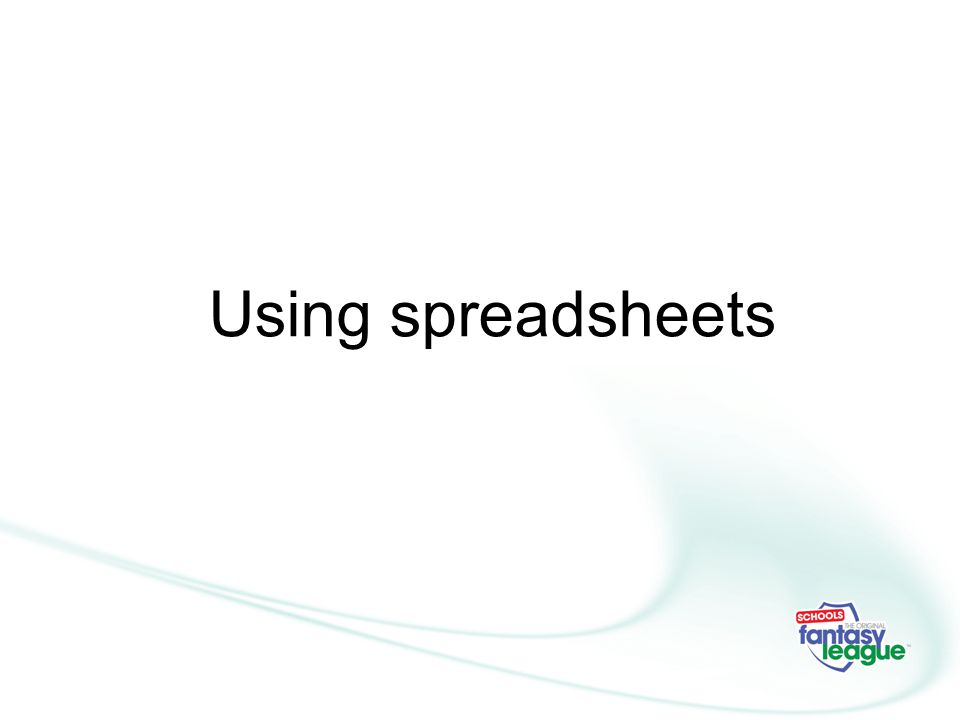 Using spreadsheets