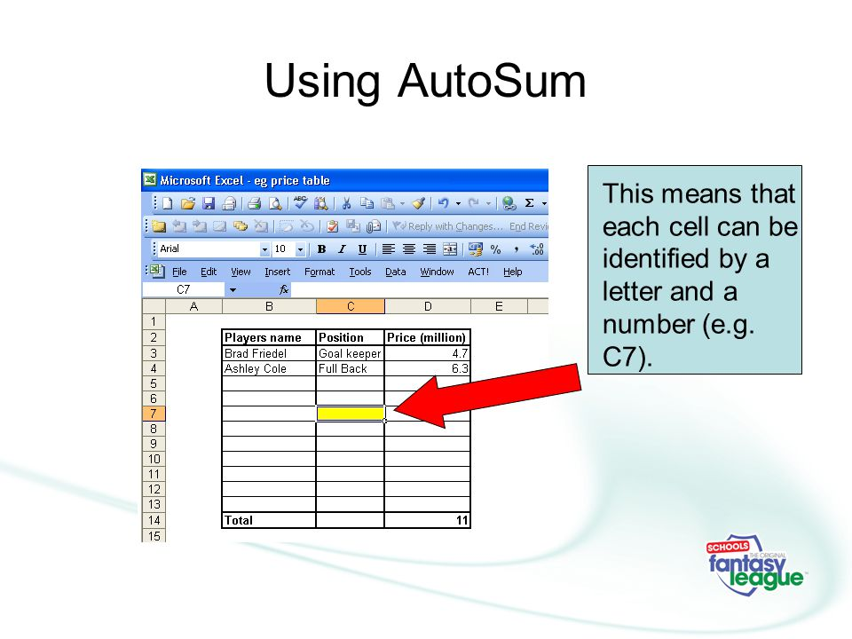 Using AutoSum This means that each cell can be identified by a letter and a number (e.g. C7).