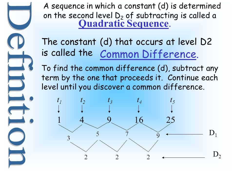 Definition Quadratic Sequence. Common Difference.