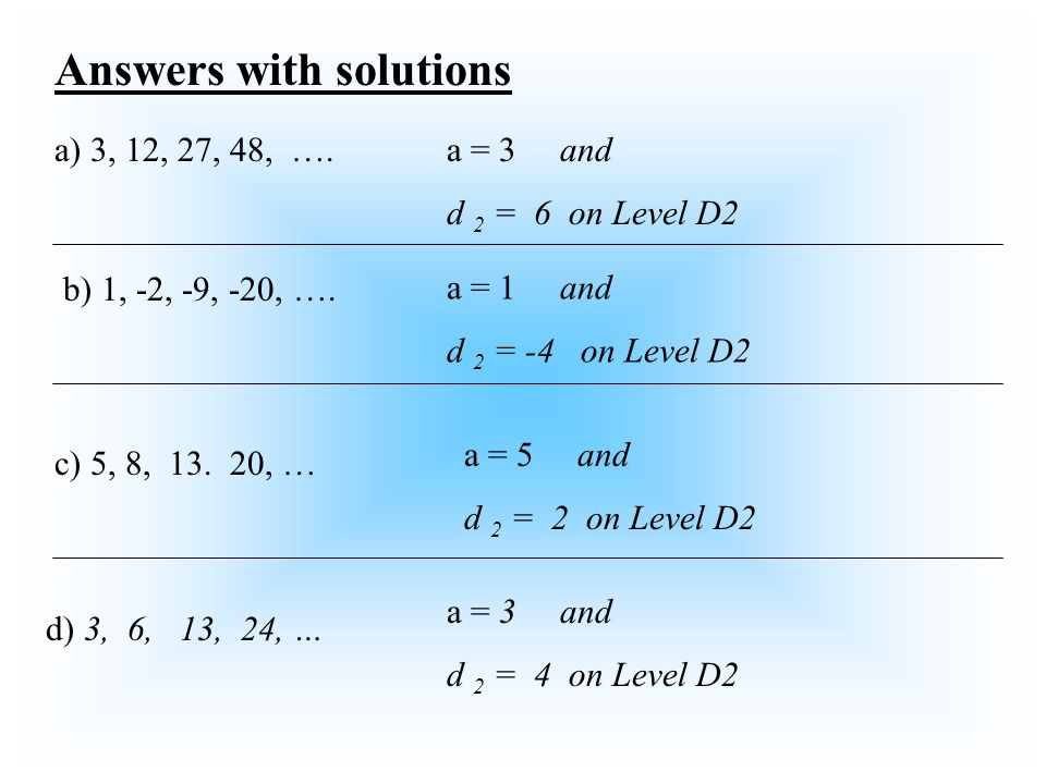 Answers with solutions