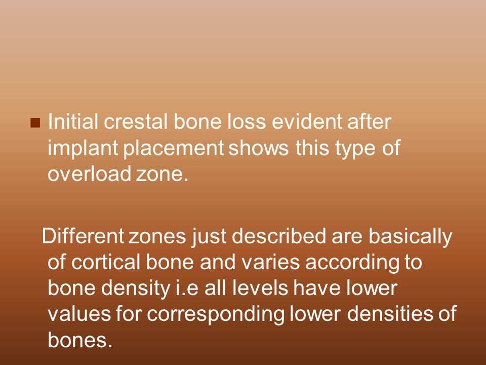 Initial crestal bone loss evident after implant placement shows this type of overload zone.