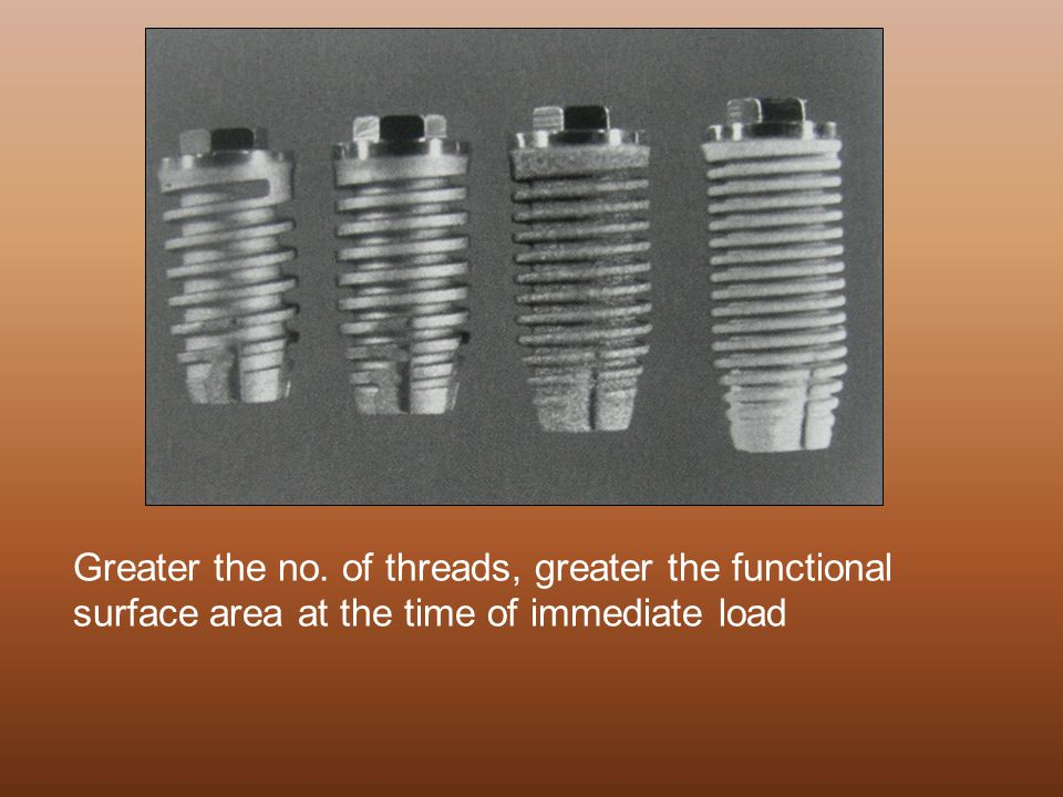 Greater the no. of threads, greater the functional surface area at the time of immediate load