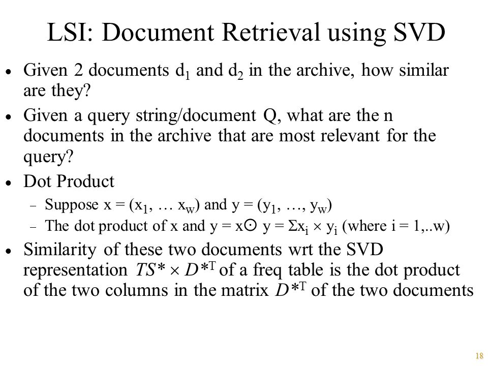 LSI: Document Retrieval using SVD
