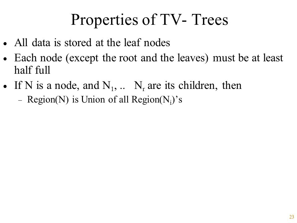 Properties of TV- Trees
