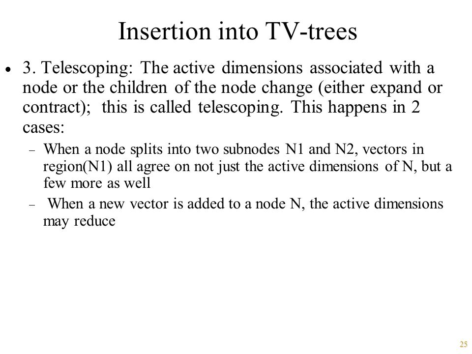Insertion into TV-trees
